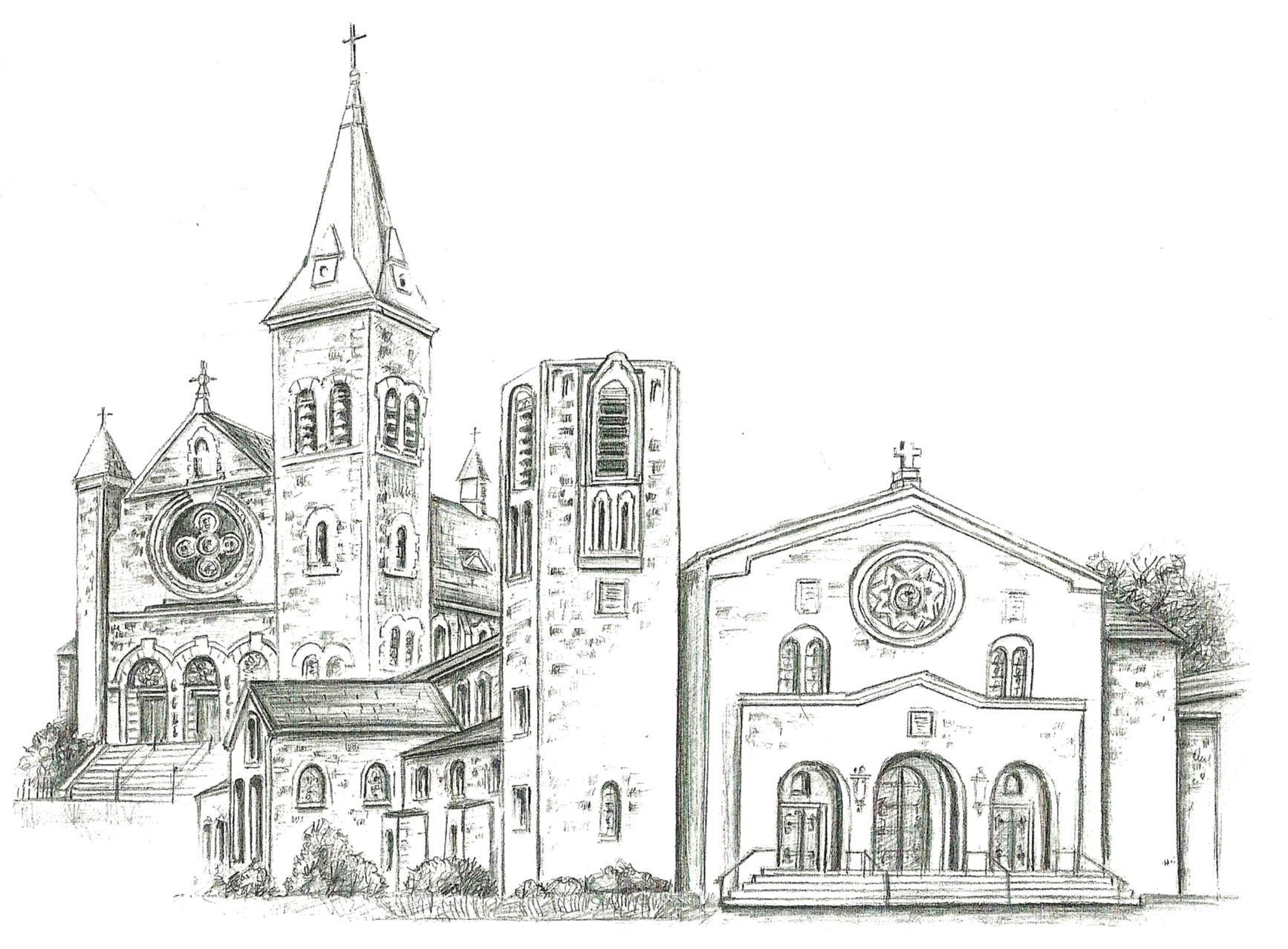 Drawing of both churches