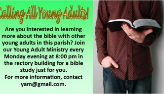 Young Adult Bible Study Mondays at 8pm